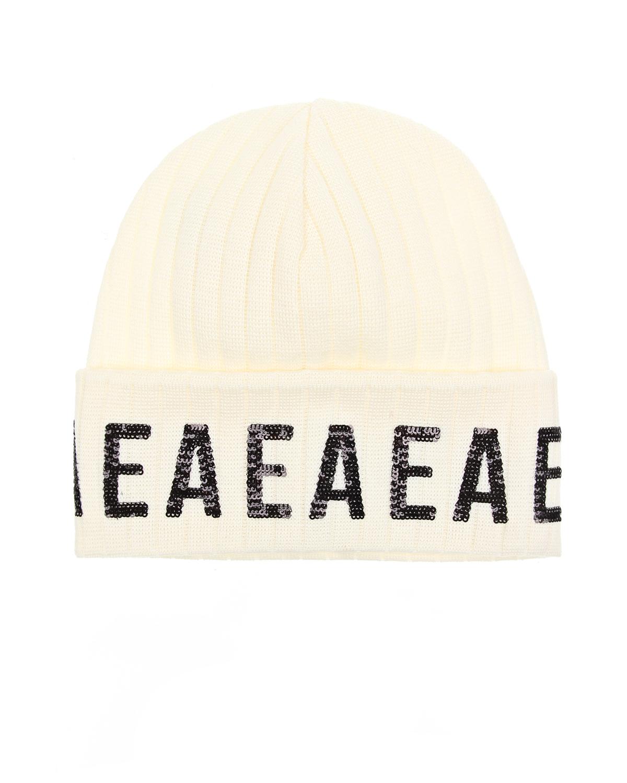 Купить Шерстяная шапка с логотипом из пайеток Emporio Armani детская, Белый, 100%шерсть