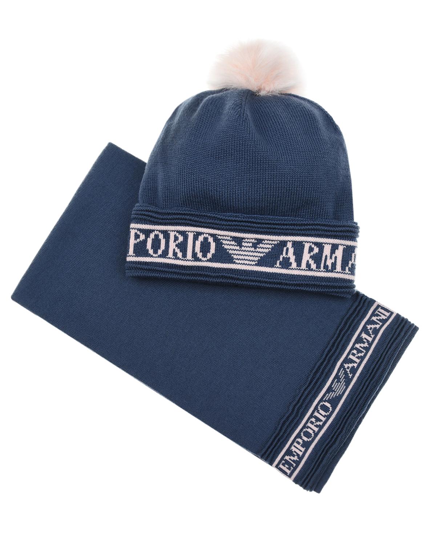 Купить Комплект из шапки с помпоном и шарфа, синий Emporio Armani детский, Синий, 100%шерсть, 67%акрил+22%модакрил+11%полиэстер