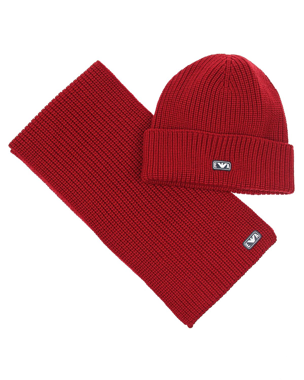 Купить Комплект из шапки и шарфа для мальчиков Emporio Armani детский, Синий, 100%шерсть