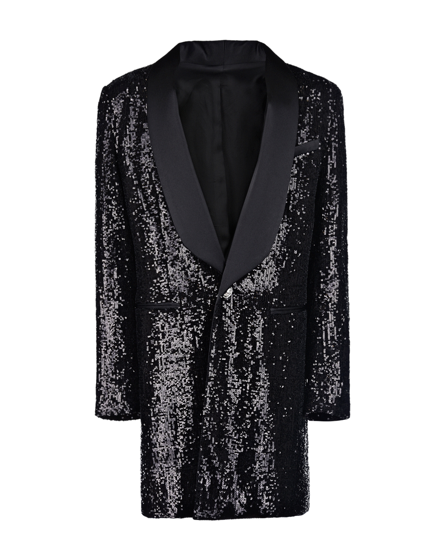 Купить Удлиненный пиджак с пайеткаи Balmain детский, Черный, 95%полиамид+5%эластан