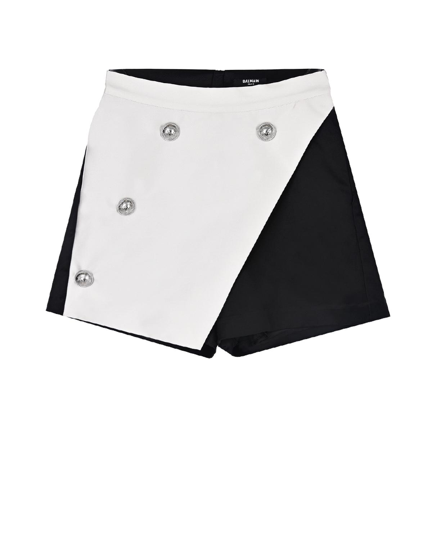 Купить Черно-белые шорты Balmain детское, Мультиколор, 54%хлопок+46%вискоза, 88%полиэстер+12%шелк, 100%вискоза
