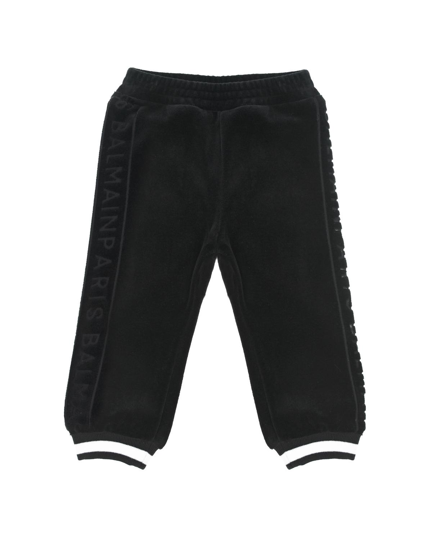 Купить Спортивные брюки с контрастными полосками на манжетах Balmain детские, Черный, 100%хлопок