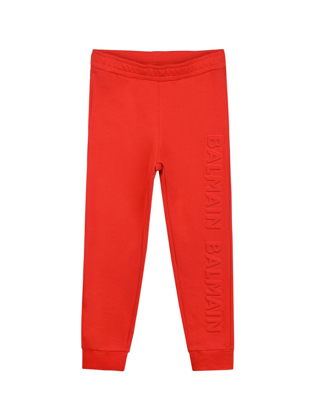 Спортивные брюки красного цвета Balmain детские, Красный, 100% хлопок  - купить со скидкой