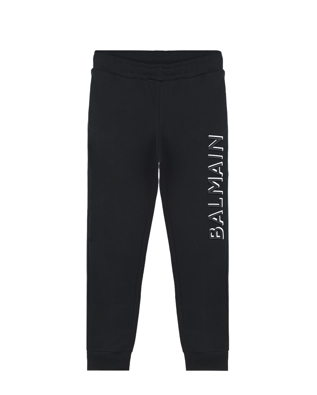 Купить Черные спортивные брюки с вышитым логотипом Balmain детские, Черный, 100%хлопок