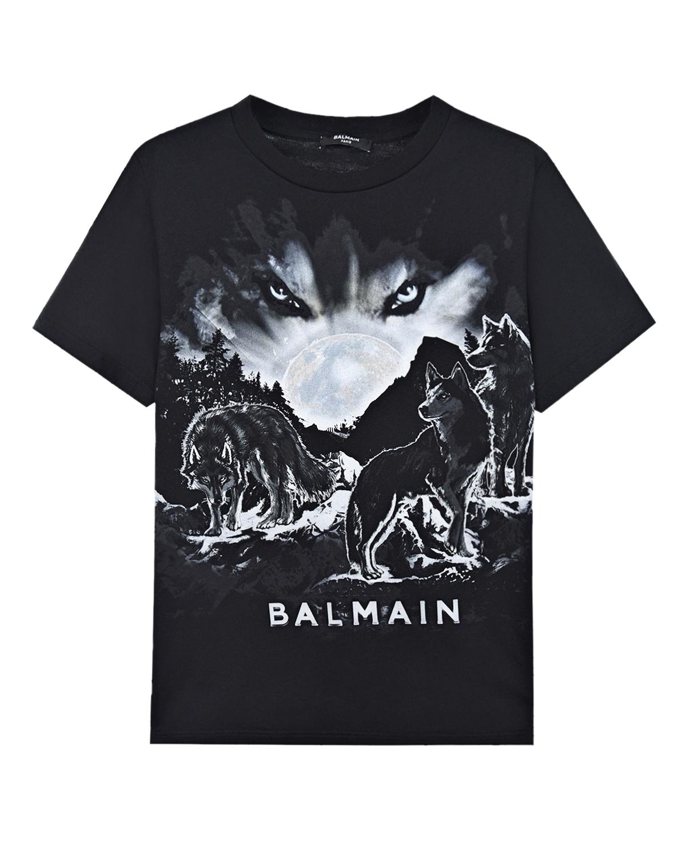 """Черная футболка с принтом """"волки"""" Balmain детская, Черный, 100%хлопок  - купить со скидкой"""