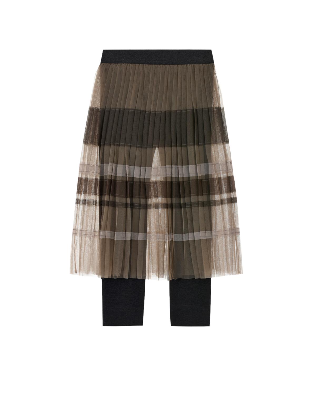 Купить Коричневая юбка с леггинсами Brunello Cucinelli детская, Мультиколор, 100%полиамид, 75%хлопок+25%эластомер, 93%хлопок+7%эластан