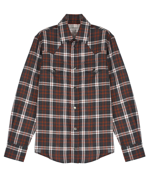 Купить Рубашка в клетку с нагрудными карманами Brunello Cucinelli детская, Мультиколор, 100%хлопок, другие волокна