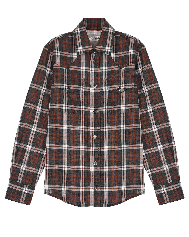 Купить Рубашка в клетку с накладными карманами Brunello Cucinelli детская, Мультиколор, 100%хлопок, другие волокна