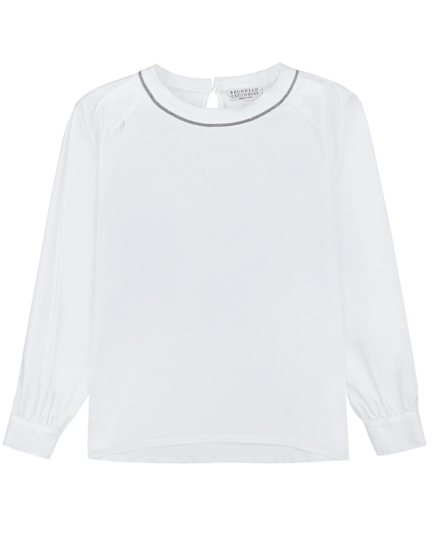 Купить Блуза с отделкой из страз на вороте Brunello Cucinelli детская, Белый, 100%хлопок