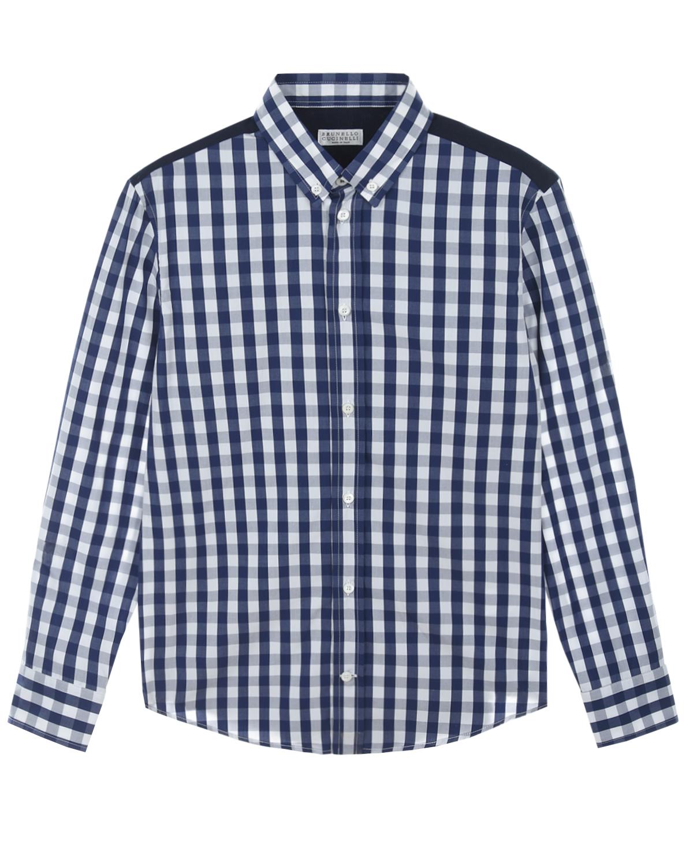 Купить Рубашка с принтом в клетку Brunello Cucinelli детская, Мультиколор, 100%хлопок