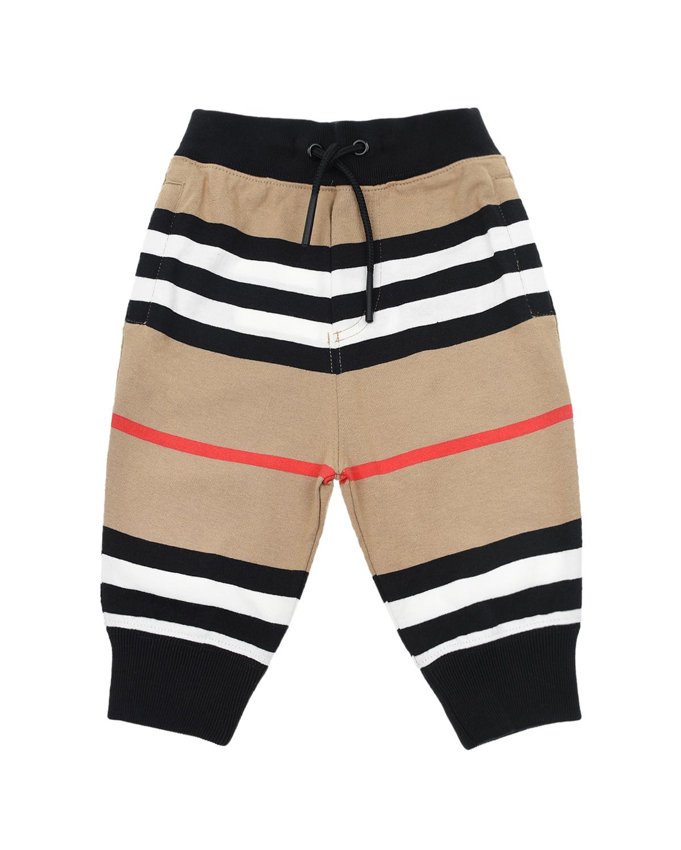 Купить Спортивные брюки из трикотажа в полоску Burberry детские, Бежевый, 100%хлопок