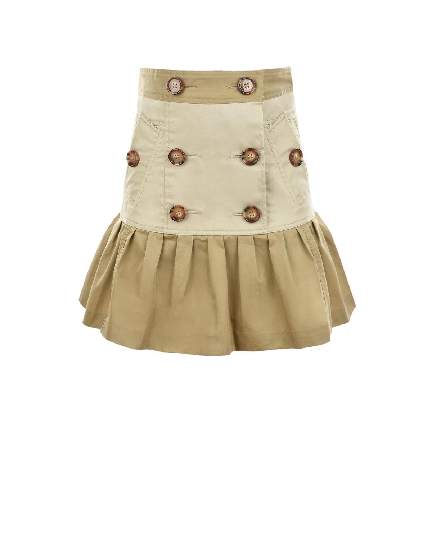Купить Бежевая юбка с воланом Burberry детская, Бежевый, 100%хлопок