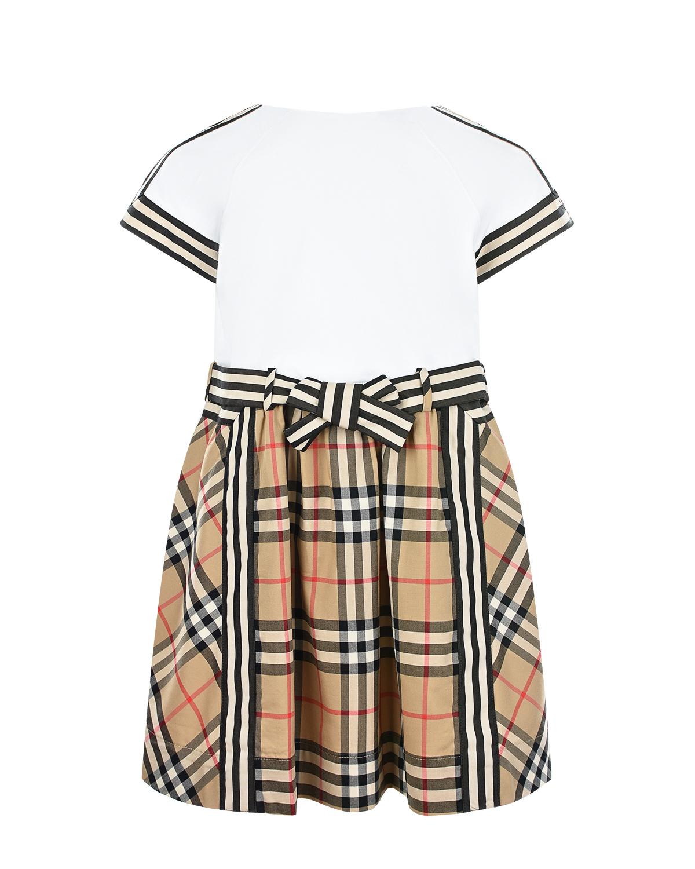 Купить Платье с юбкой в клетку Burberry детское, Бежевый, 100%хлопок
