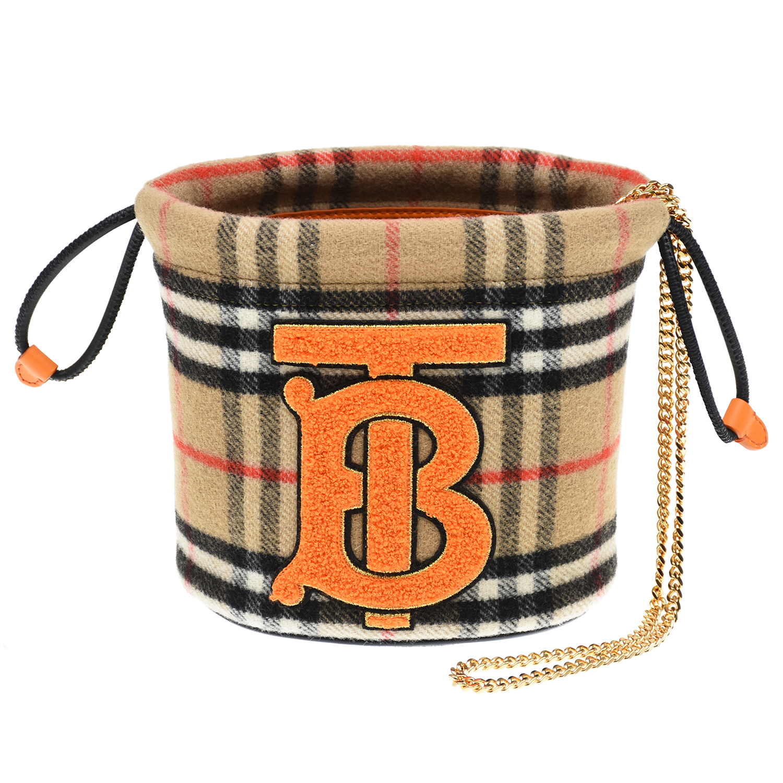 Купить Бежевая сумка с монограммой, 15x15x11 см Burberry детская, Бежевый, 100% шерсть, 100%нат.кожа, 100%полиамид