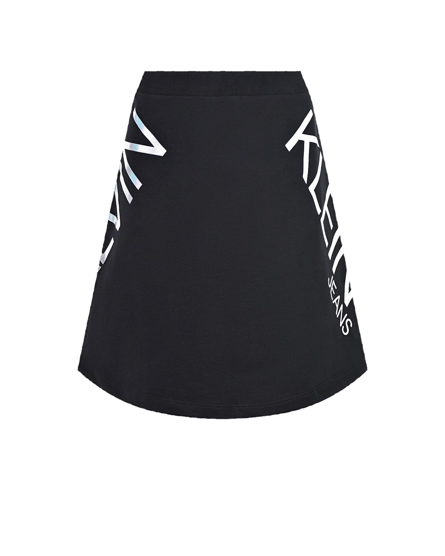 Купить Черная юбка с логотипом Calvin Klein детская, Черный, 100%хлопок, 97%хлопок+3%эластан