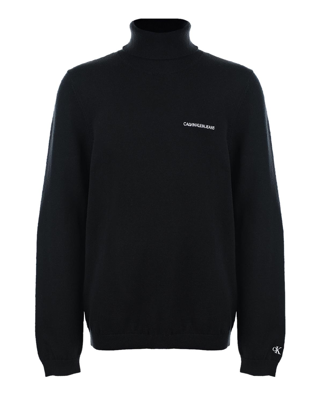 Купить Черная водолазка с белым логотипом Calvin Klein детская, Нет цвета, 100% хлопок