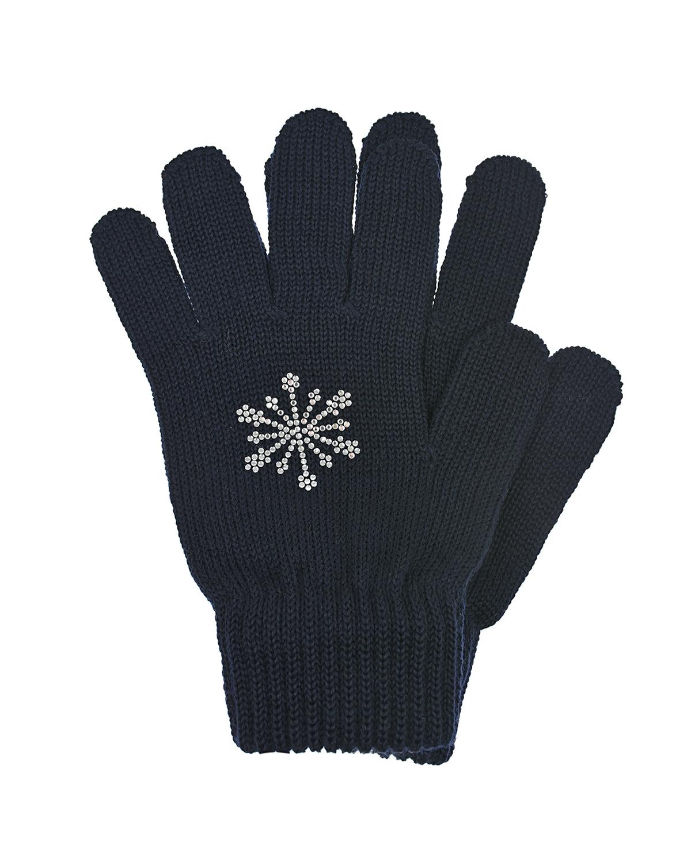 Купить Темно-синие перчатки со снежинкой из страз Catya детское, Синий, 100% шерсть