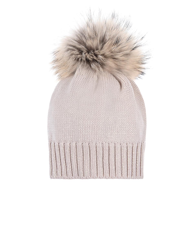 Купить Шерстяная шапка с меховым помпоном Catya детская, Золотой, 100% шерсть, 100%мех мурмаски