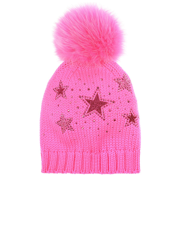 Розовая шапка со звездами и стразами Catya детская фото