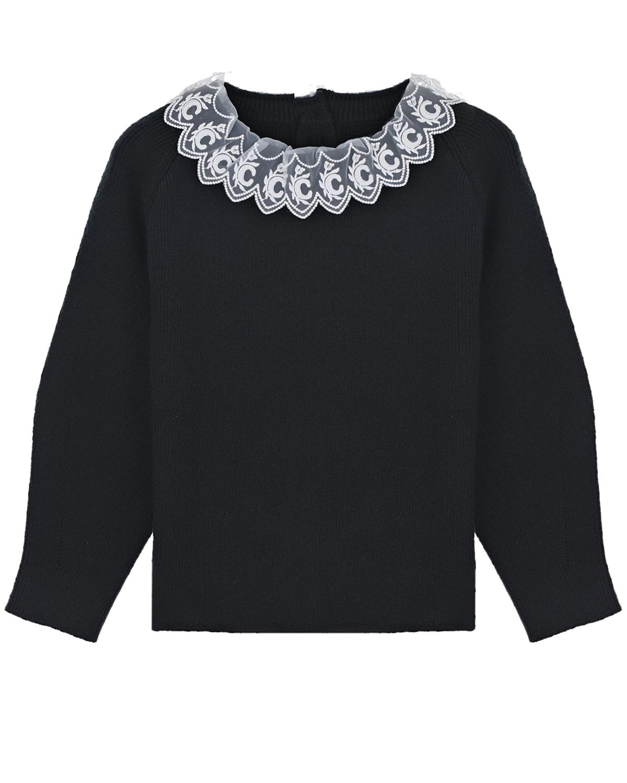 Купить Черный свитер с кружевной отделкой Chloe детский, 84%хлопок+9%шерсть+6%полиамид+1%эластан, 100%полиэстер