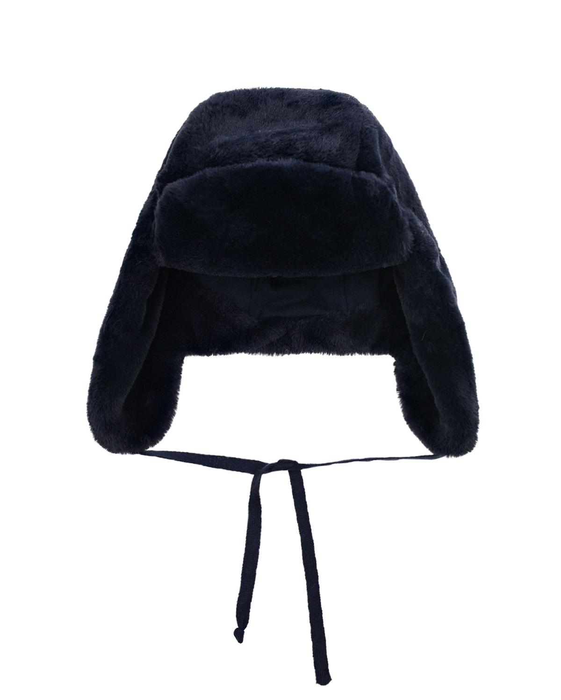Купить Темно-синяя шапка-ушанка Chobi детское, Синий, 100%полиэстер, 98%хлопок+2%эластан, искус.мех