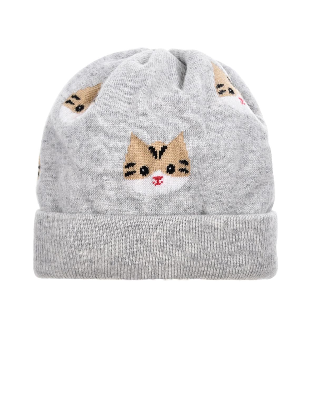 Купить Серая шапка с принтом кошки Chobi детская, Серый, 40%шерсть+35%вискоза+10%полиамид+10%кашемир+5%ангора, 98%хлопок+2%эластан, мех Кролик крашен.