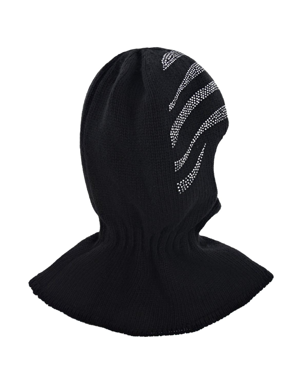 Купить Черная шапка-шлем со стразами Chobi детская, Черный, 40%шерсть+35%вискоза+10%полиамид+10%кашемир+5%ангора, 98%хлопок+2%эластан