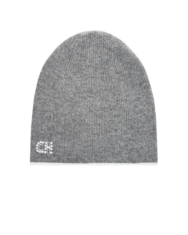Купить Серая шапка с логотипом из страз Chobi детская, Серый, 40%шерсть+35%вискоза+10%полиамид+10%кашемир+5%ангора