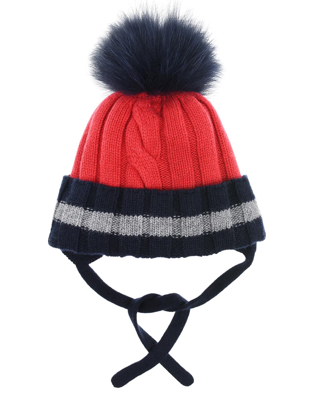 Купить Красная шапка с завязками и помпоном Chobi детская, Красный, 40%шерсть+35%вискоза+10%полиамид+10%кашемир+5%ангора