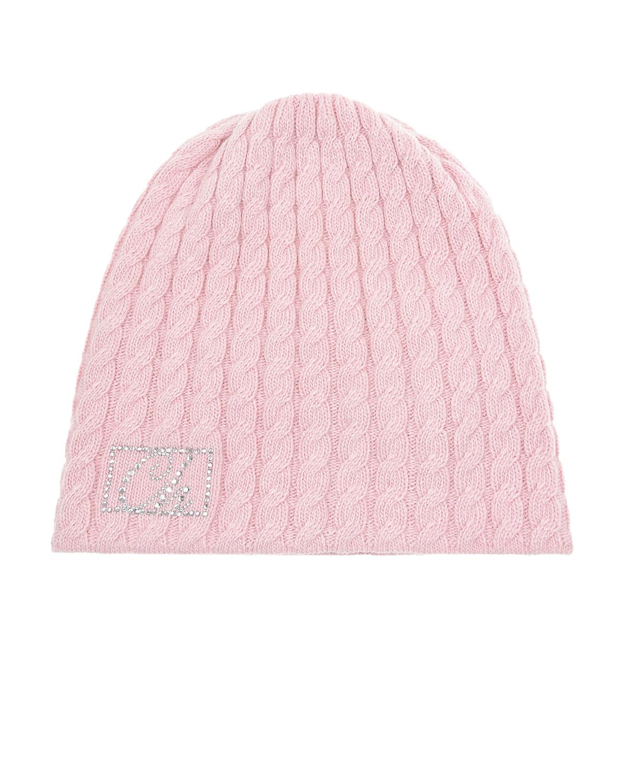 Купить Розовая шапка с логотипом из страз Chobi детская, Нет цвета, 40%шерсть+35%вискоза+10%полиамид+10%кашемир+5%ангора