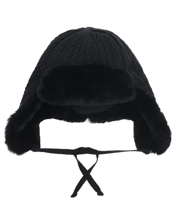 Купить Черная шапка-ушанка с меховой отделкой Chobi детская, Черный, 40% шерсть+35% вискоза+10% полиамид+10% кашемир+5% ангора, 98% хлопок+2% эластан, мех кролика