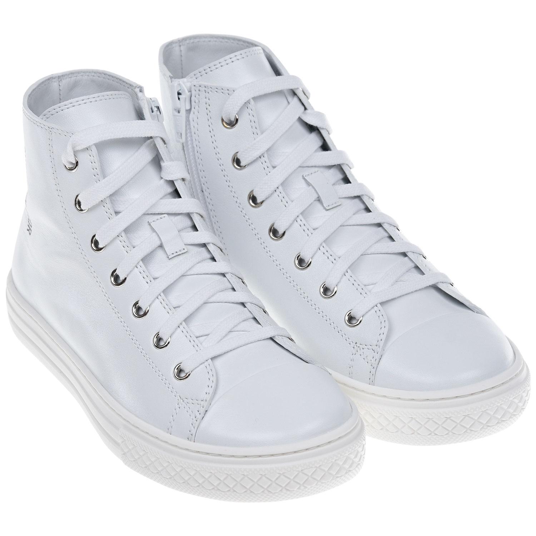 Купить Белые высокие кеды с логотипом Dior детские, Белый, верх:100%нат.кожа, подкладка и стелька:100%нат.кожа, подошва:100%резина