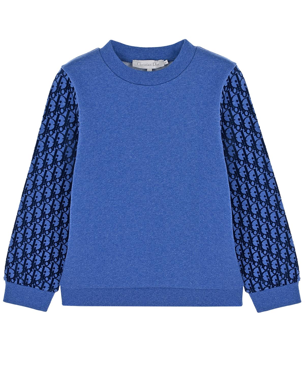 Синий свитшот с логотипом на рукавах Dior детский, 100% хлопок, 95%хлопок+5%эластан  - купить со скидкой