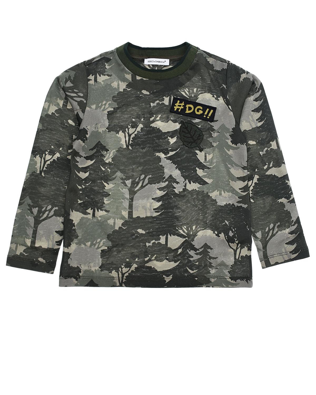 Купить Толстовка с принтом лес Dolce&Gabbana детская, Хаки, 100%хлопок, 96%хлопок+4%эластан, 20%акрил+10%полиэстер+20%вискоза+50%шерсть