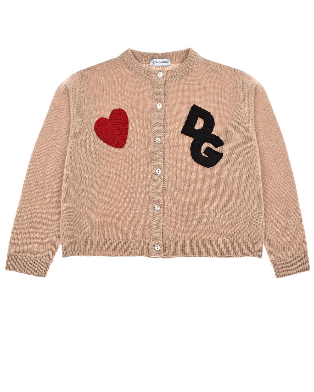 Купить Бежевая кофта с логотипом Dolce&Gabbana детская, Бежевый, 25%полиамид+25%вискоза+10%кашемир+40%шерсть, 100%шерсть