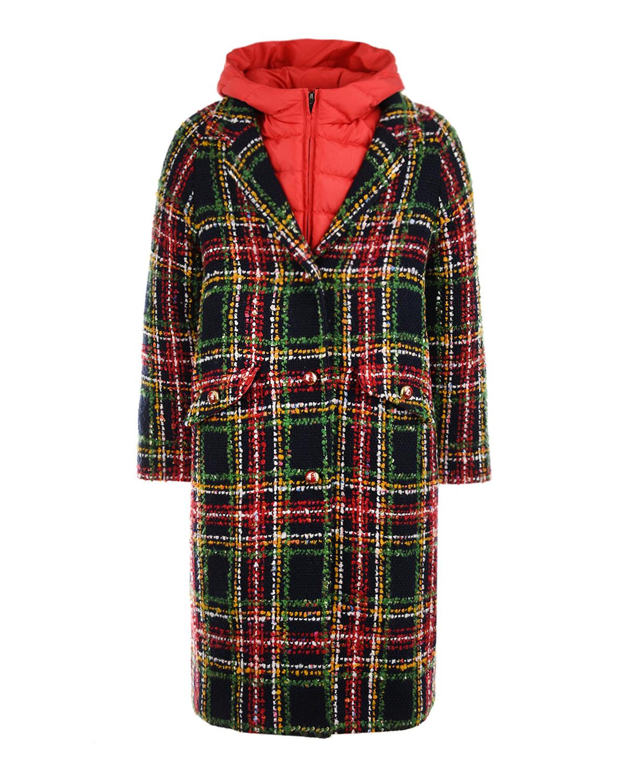 Купить Пальто 2 в 1 в клетку Dolce&Gabbana детское, Мультиколор, 46%акрил+14%полиэстер+3%вискоза+37%шерсть, 30%хлопок+70%полиэстер, 20%полиамид+80%полиэстер, 30%перо+70%пух, 100%полиэстер