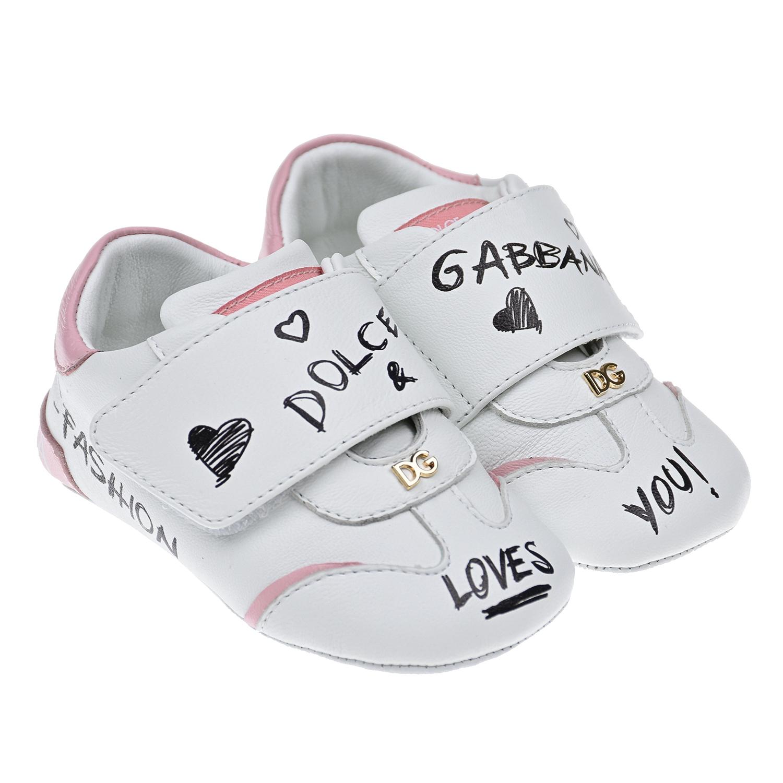 Купить Белые пинетки с розовыми вставками Dolce&Gabbana детские, Белый, Верх:100%нат.кожа, Подкладка:100%нат.кожа, Стелька:%3, Подошва:100%нат.кожа