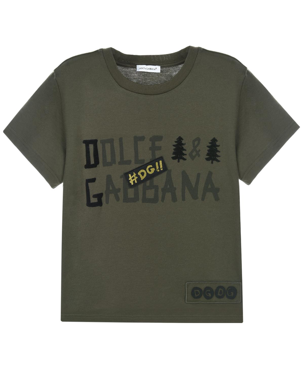 Купить Серая футболка с логотипом Dolce&Gabbana детская, Хаки, 100%хлопок, 50%поливинилхлорид+18%хлопок+14%полиэстер+9%шерсть+9%вискоза