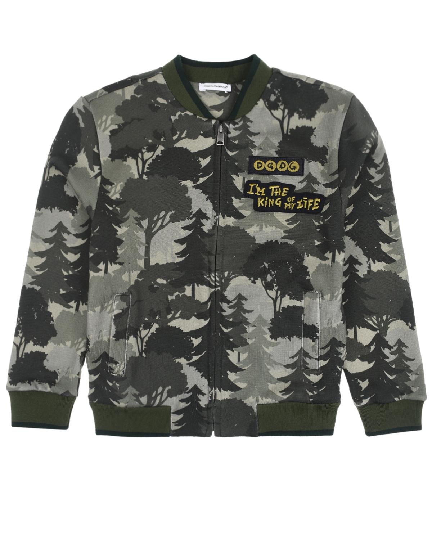 Купить Спортивная куртка с принтом Лес Dolce&Gabbana детская, Хаки, 100%хлопок, 96%хлопок+4%эластан, 65%полиэстер+35%вискоза