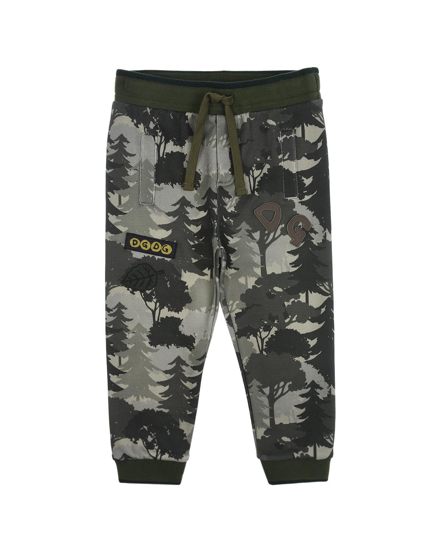 Купить Спортивные брюки с принтом Лес Dolce&Gabbana детские, Хаки, 100%хлопок, 96%хлопок+4%эластан, 25%полиэстер+20%шерсть+20%акрил+15%вискоза+15%хлопок+5%полиамид