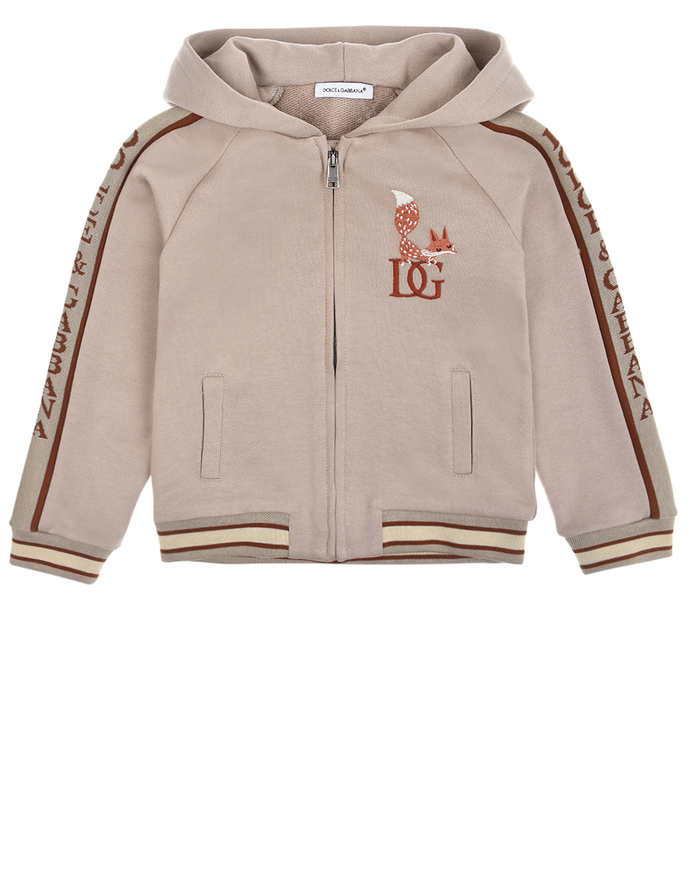 Купить Бежевая спортивная куртка Dolce&Gabbana детская, Бежевый, 100%хлопок, 100%хлопок. 96%хлопок+4%полиэстер, 100%полиэстер