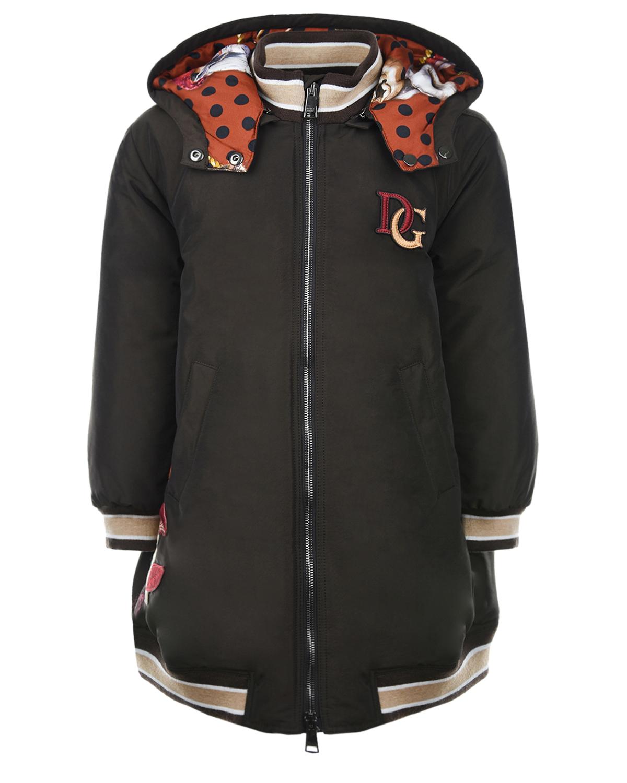 Купить Коричневое пальто с аппликациями Dolce&Gabbana детское, Коричневый, 59%полиамид+41%полиэстер, 100%вискоза, 96%шерсть+4%эластан, 100%пух, 77%полиэстер+23%вискоза, 100%полиэстер