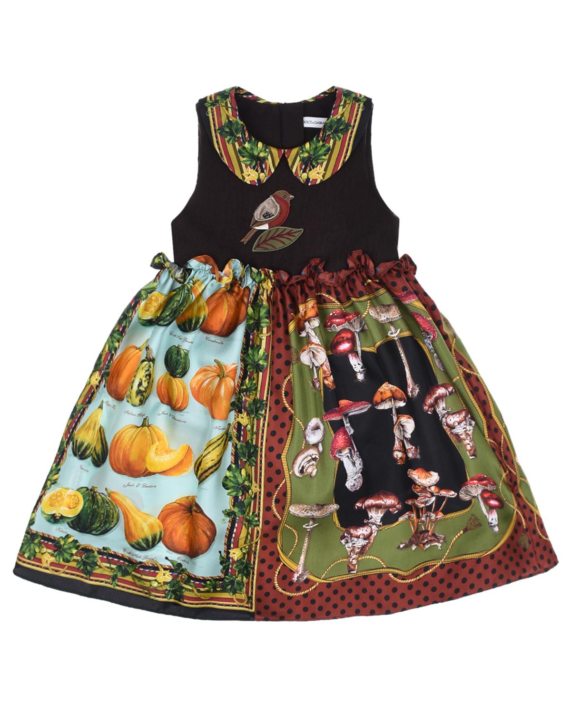 Купить Платье из шерсти и шелка Dolce&Gabbana детское, Мультиколор, 70%шелк+30%шерсть, 100%хлопок, 33%хлопок+30%ацетат+20%вискоза+15%полиэстер+2%эластан