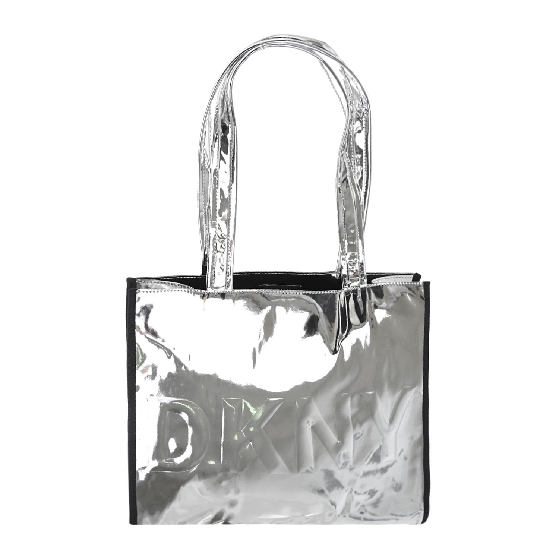 Купить Серебристая сумка с логотипом, 28x33x10 см DKNY детская, Нет цвета, 100%полиуретан, 100%полиэстер