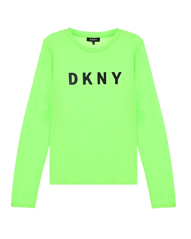 Купить Зеленая толстовка с логотипом DKNY детская, Зеленый, 65%полиэстер+35%хлопок