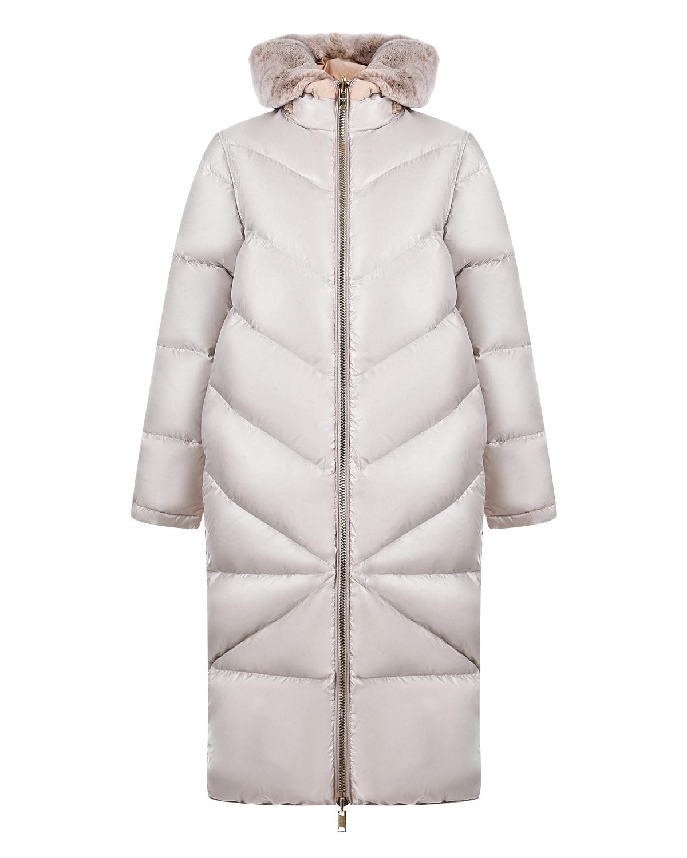 Купить Пуховое пальто-миди Diego M, Кремовый, 100%полиэстер, 90%пух+10%перо