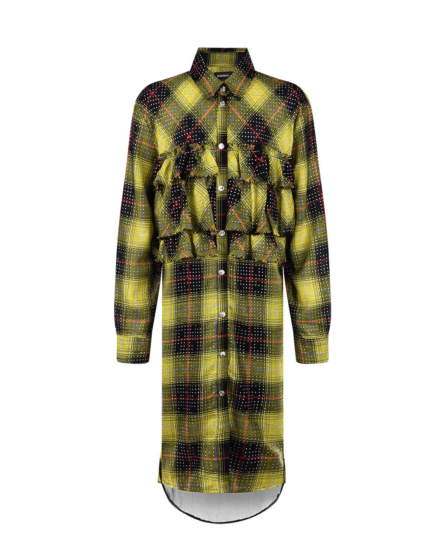 Купить Платье в черно-желтую клетку Diesel детское, Мультиколор, 65%полиэстер+35%вискоза, 100%вискоза