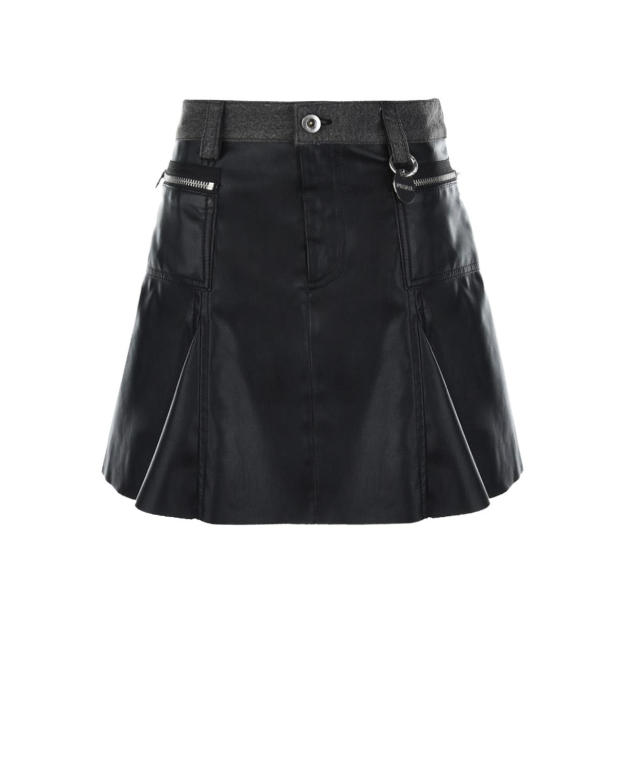 Купить Черная юбка из эко-кожи Diesel детская, Черный, 100%полиуретан, 100%хлопок, 100%вискоза