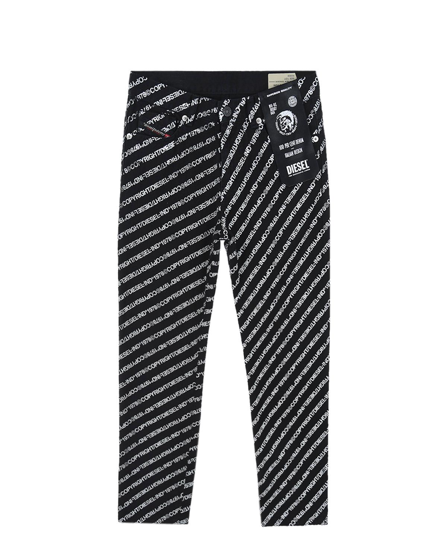 Купить Черные брюки со сплошным логотипом Diesel детские, Черный, 100%хлопок