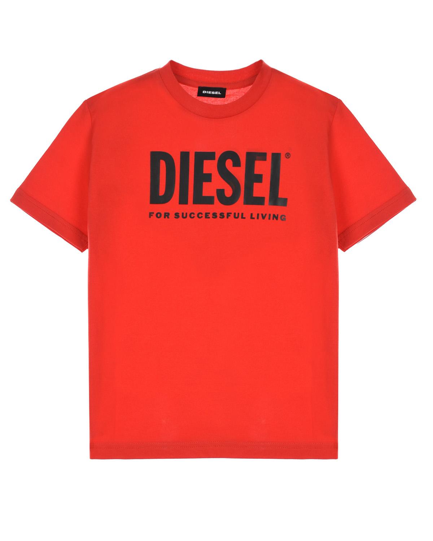 Купить Красная футболка с черным логотипом Diesel детская, Красный, 100%хлопок